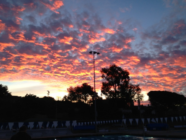 Sunrise over morning swim practice.